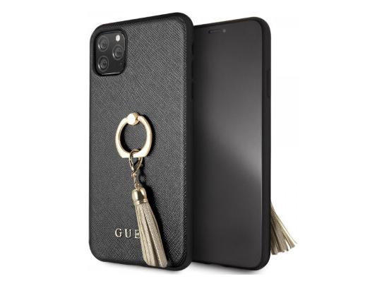 Чехол Guess для iPhone 11 Pro Max – Saffiano Hard с кольцом, черный