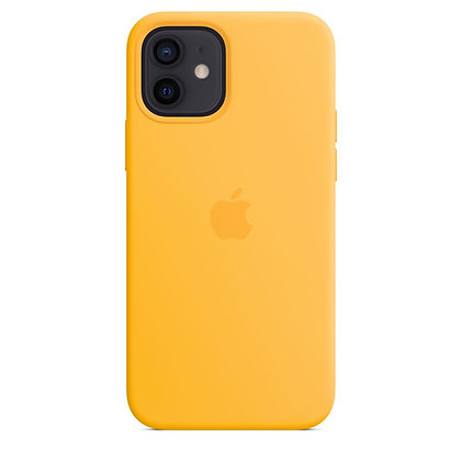 Силиконовый чехол MagSafe для iPhone 12 / 12 Pro, ярко-жёлтый цвет