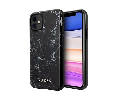 Чехол Guess Marble Design Hard для iPhone 11, черный