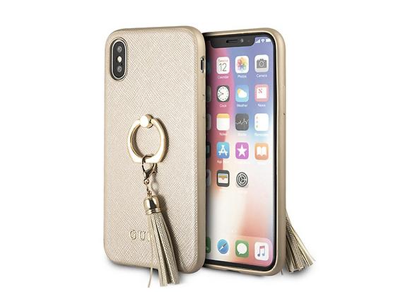 Чехол Guess для iPhone XS/X – Saffiano Hard с кольцом, Gold