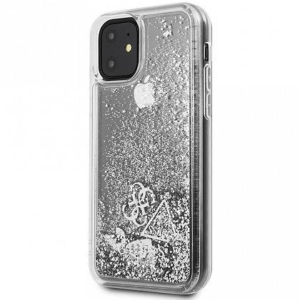Чехол Guess Liquid Glitter Hearts Hard для iPhone 11 Pro, Silver