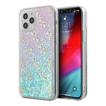 Чехол Guess Liquid Glitter 4G Hard Iridescent для iPhone 12 mini, градиент