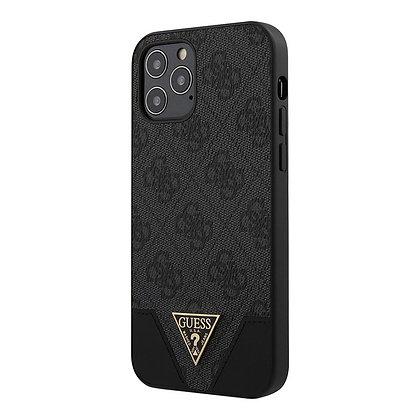 Чехол Guess 4G Triangle Metal logo Hard для iPhone 12 mini, серый