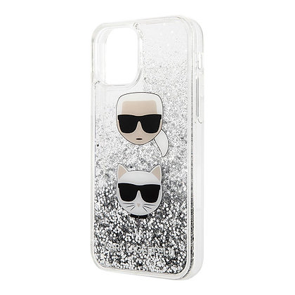 Чехол Karl Lagerfeld glitter Karl and Choupette для iPhone 11, серебро