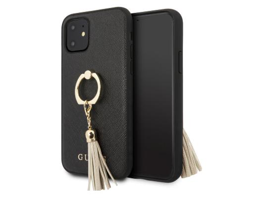 Чехол Guess для iPhone 11 – Saffiano Hard с кольцом, черный