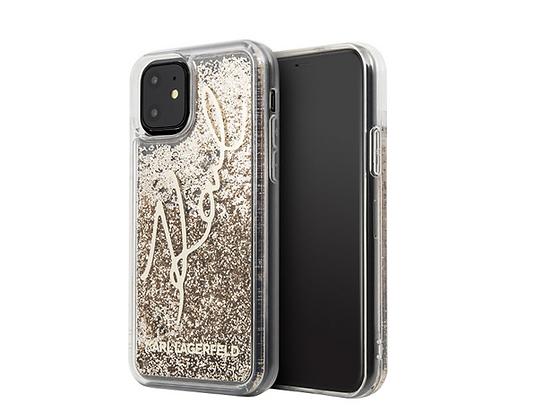 Чехол Karl Lagerfeld Liquid Glitter Signature для iPhone 11, золотой