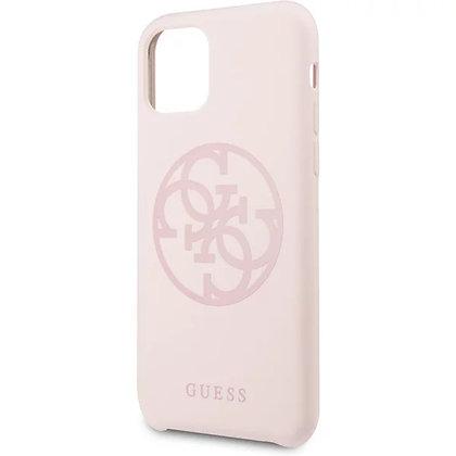 Чехол Guess 4G Tone on Tone Silicone Hard для iPhone 11 светло-розовый