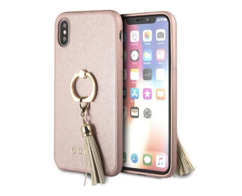 Чехол Guess для iPhone XS/X – Saffiano Hard с кольцом, розовый