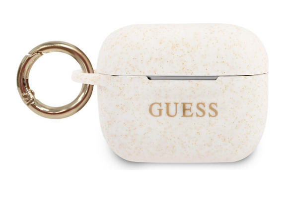 Чехол с карабином Guess Silicone case with ring для AirPods Pro, белый