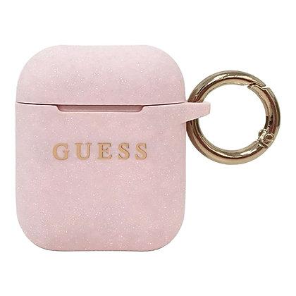 Чехол Guess Silicone Case с кольцом для AirPods (1-2 series), розовый песок
