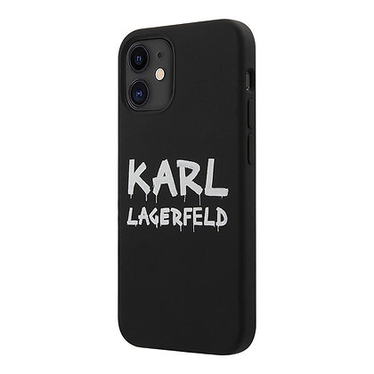 Чехол Karl Lagerfeld silicone Graffiti logo для iPhone 12 / 12 Pro, черный