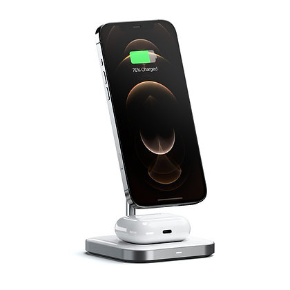 БЗУ Satechi aluminum 2 in 1 magnetic wireless charging stand 10W (ST-WMCS2M)