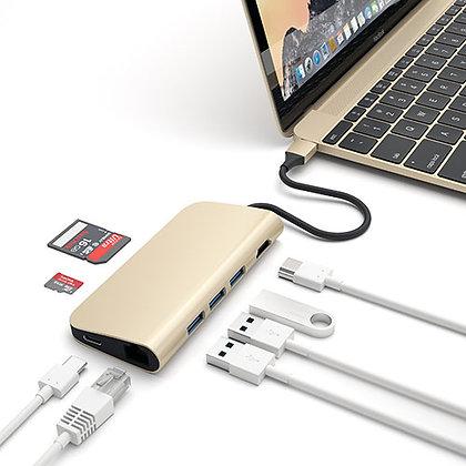Переходник-Хаб Satechi Adapter 4K with Ethernet (ST-TCMAG) золотой