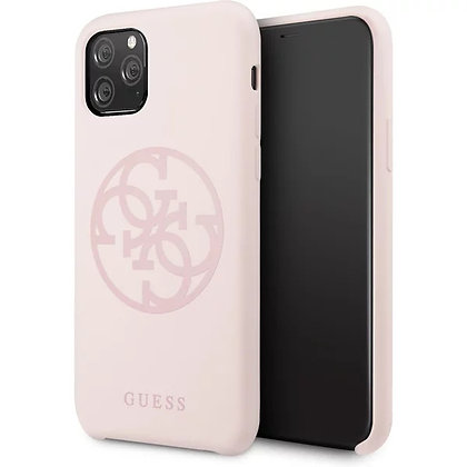 Чехол Guess 4G Tone on Tone Silicone Hard для iPhone 11 Pro светло-розовый