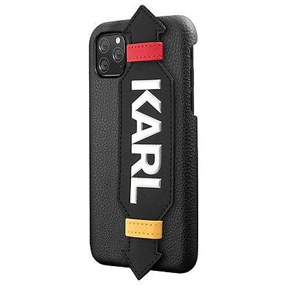 Чехол Karl Lagerfeld Leather Strap Karl Logo для iPhone 11, с ремешком, черный