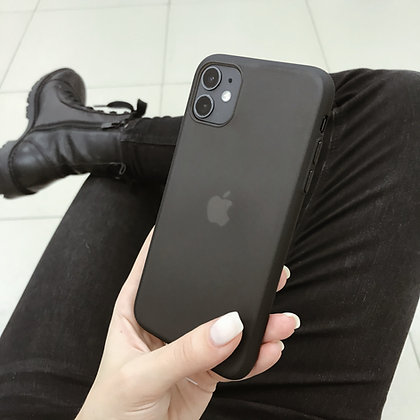 """Силиконовый чехол """"Лёд"""" на iPhone 11 (Матовый Черный)"""