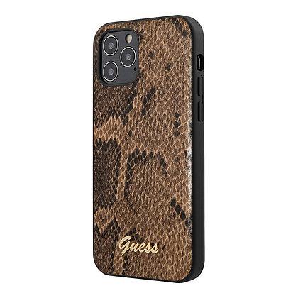 Чехол Guess PU Python Metal logo Hard для iPhone 12 Pro Max, коричневый