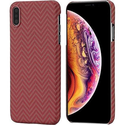 Чехол PITAKA MagCase для iPhone Xs Max красно-оранжевый карбон (Herringbone)