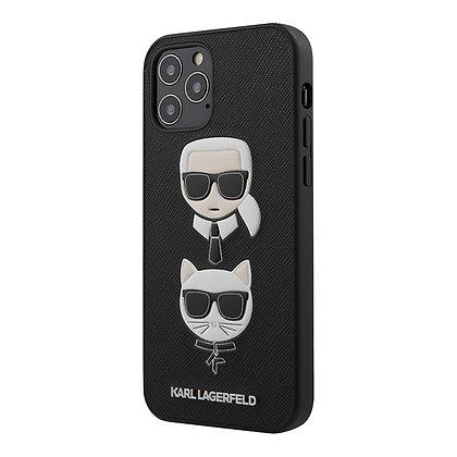 Чехол Karl Lagerfeld PU Saffiano Karl and Choupette для iPhone 12 mini, черный