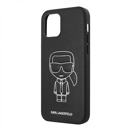 Чехол Karl Lagerfeld PU Ikonik Metal logo Hard для iPhone 12 mini, черный