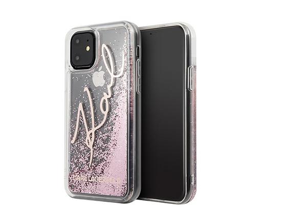 Чехол Karl Lagerfeld Liquid Glitter Signature для iPhone 11, розовый
