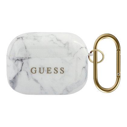 Чехол Guess Marble Effect с кольцом для Airpods Pro, белый