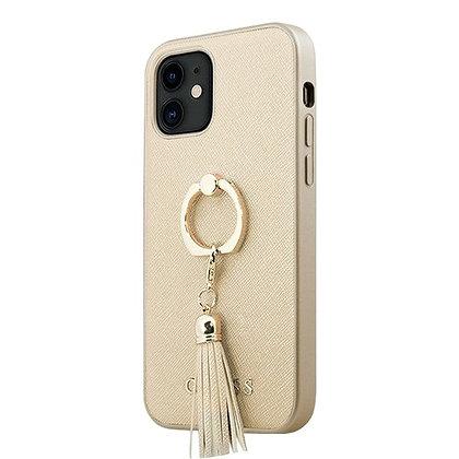 Чехол Guess Saffiano Hard Ring для iPhone 12 mini, бежевый