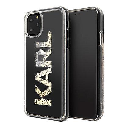 Чехол Karl Lagerfeld Liquid Glitter Karl logo Hard для iPhone 11 Pro, черный