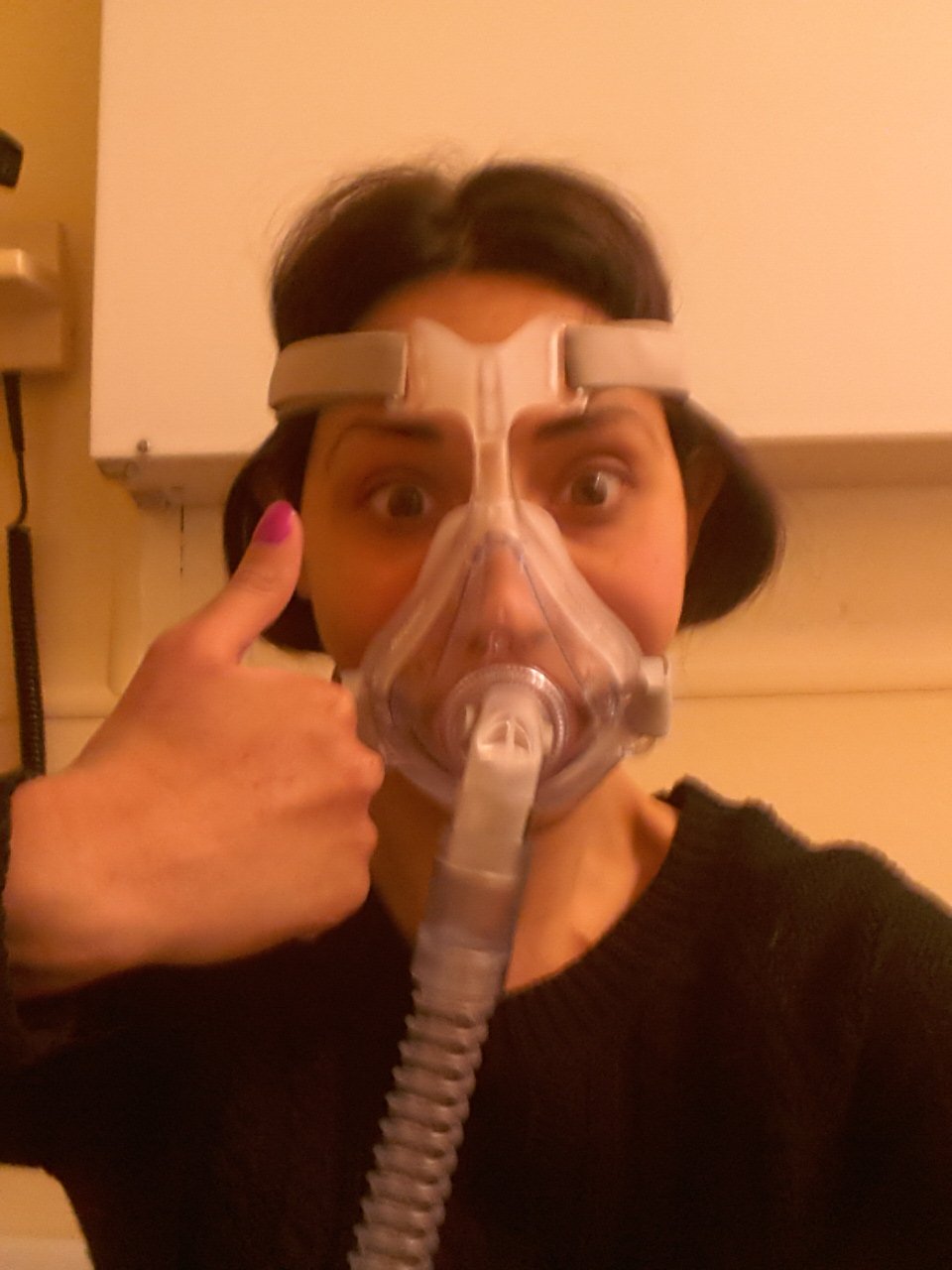 Veronica wearing her non-invasive ventilator prior to transplant