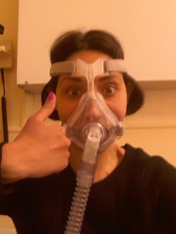 Veronica wearing her non-invasive ventilator prior to transplant
