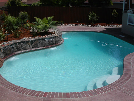 Custom pool with brick coping