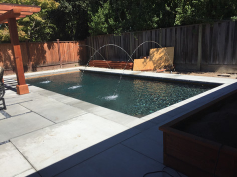 Custom pool with cement coping
