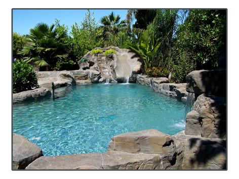 Custom pool and waterslide