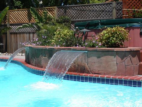 Custom pool and waterfsheets