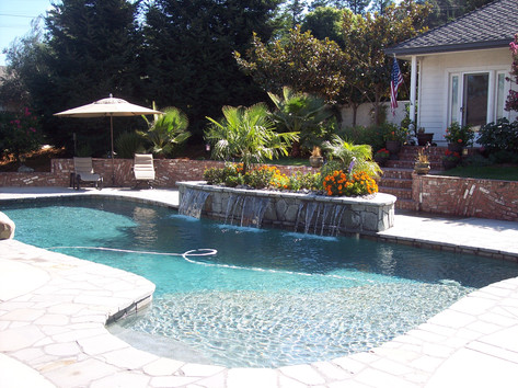 Custom pool and watersheets on planter