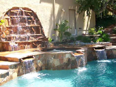 Custom pool and waterfall and watersheets