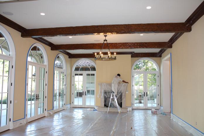Custom Interior, stain grade wood beams