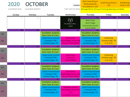 October Calendar of Classes