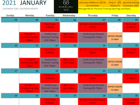 January Openings and Tentative schedule at Victory Fit