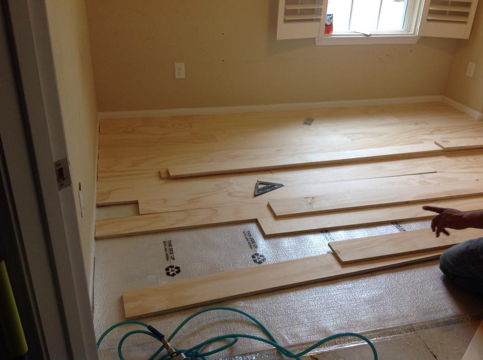 Plywood Floor Being Installed