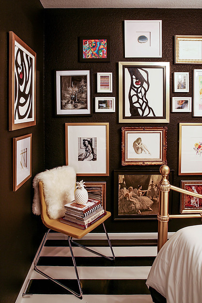 Black walls, matte black walls, bedroom painted black, gallery wall, bland and white