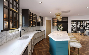 Kitchen remodel 3D rendering
