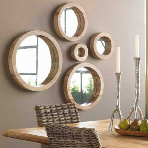 A grouping of porthole mirrors