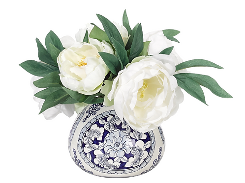 Peony And Blue And White Container