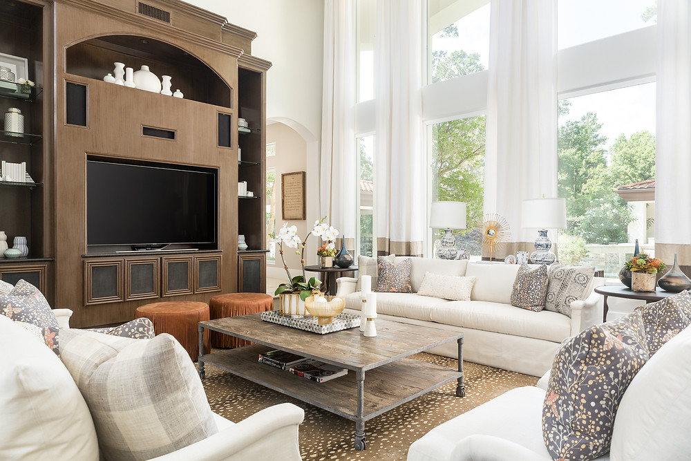 Neutral living room with white and gold accents