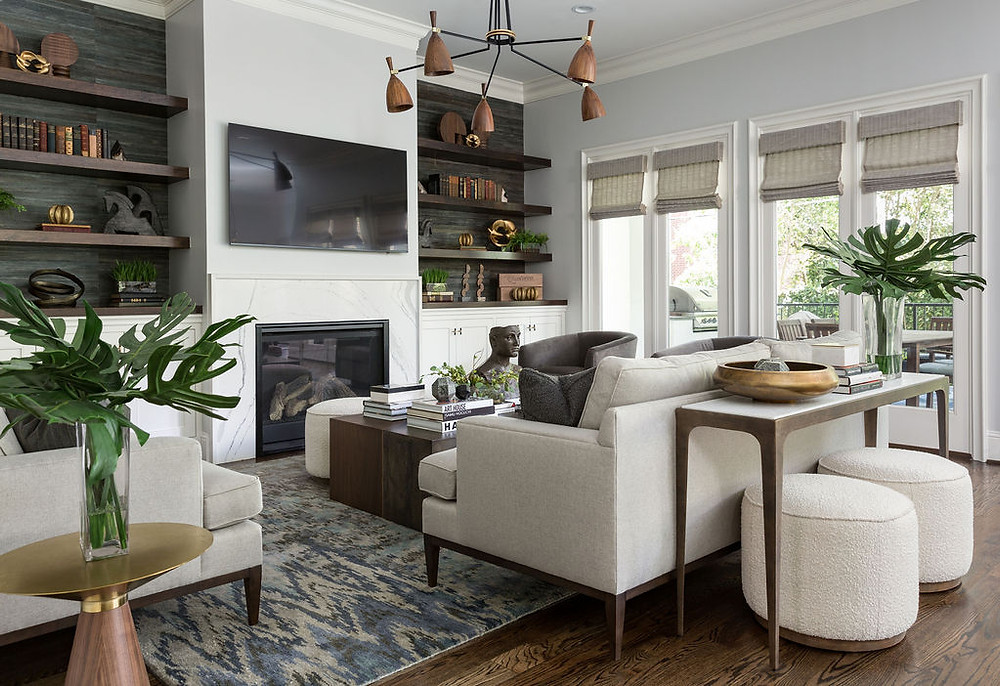 Mid Century Modern Living Room With Bark Wallpaper Behind Floating Wooden Shelves