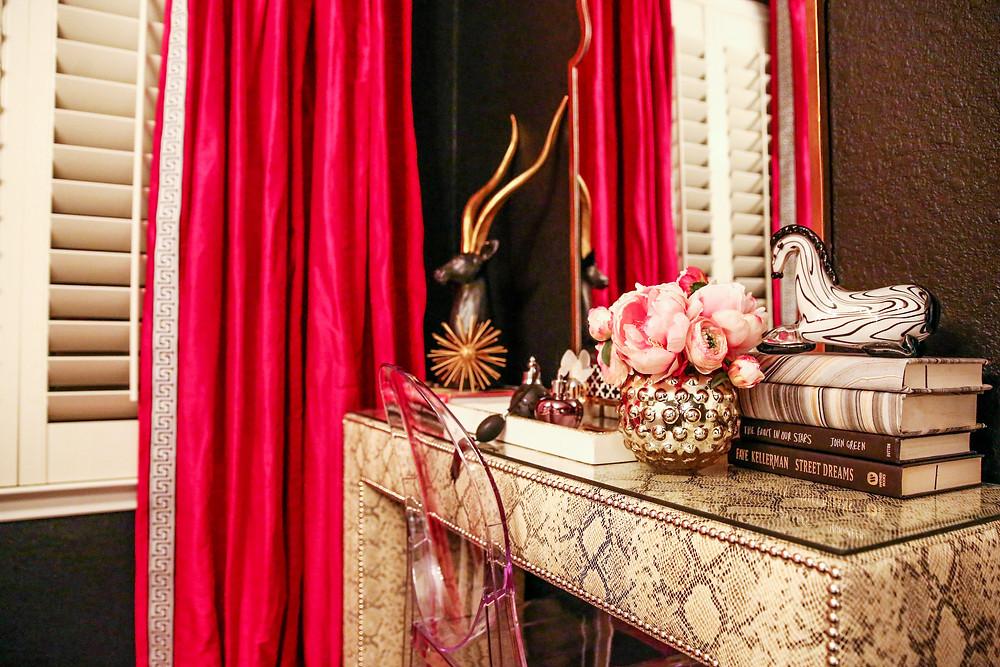 Upholstered parsons table, custom fuchsia draperies