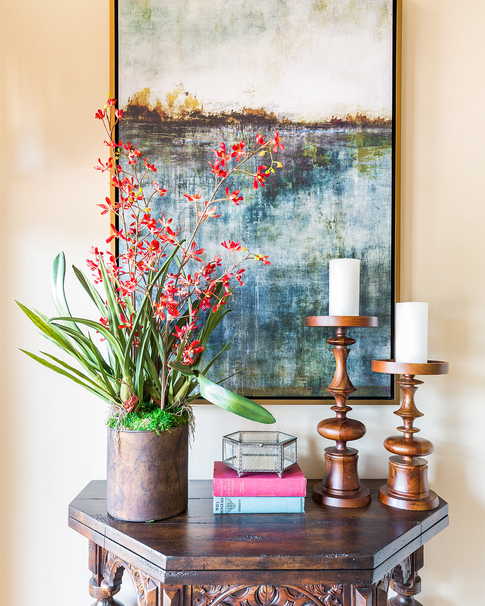 Faux Orchid in Living Room Vignette