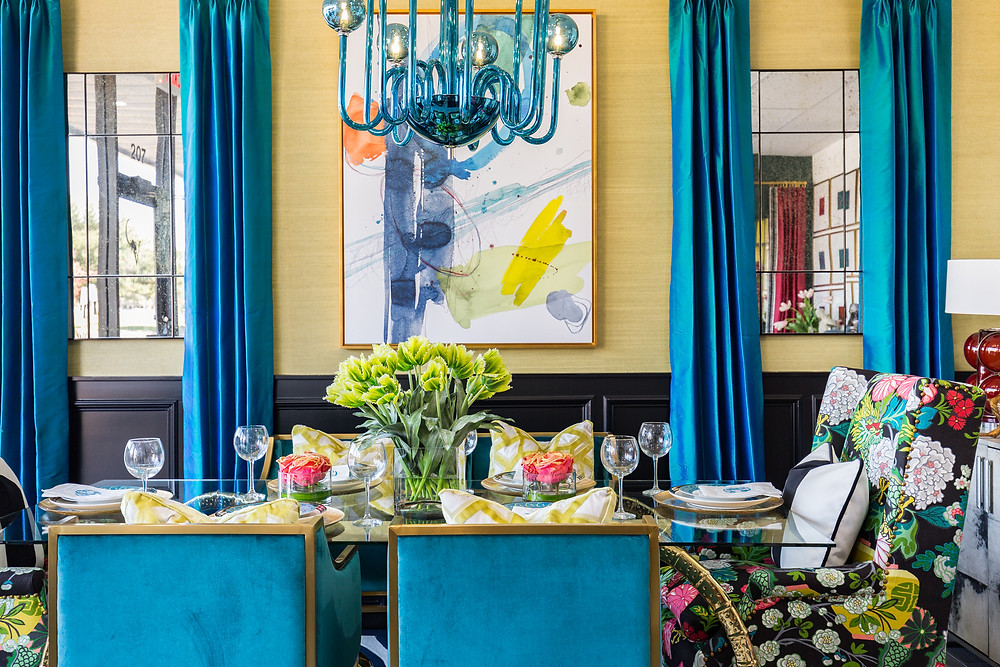 Yellow Grasscloth Walls with teal drapery and abstract art