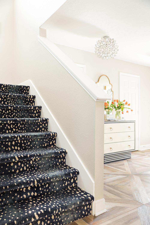 Blue Antelope Carpet on stairs in foyer